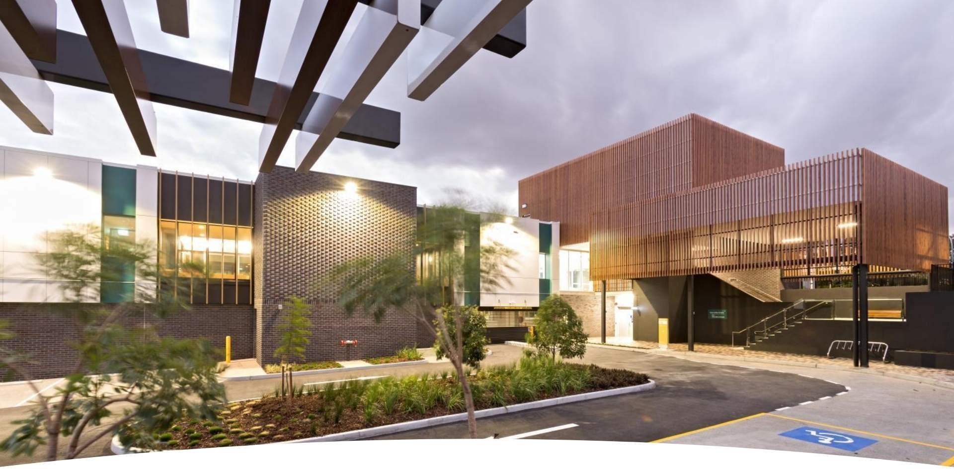 Aluminium Balustrades - Timber-look Façade adds therapeutic touch in Jacaranda Place